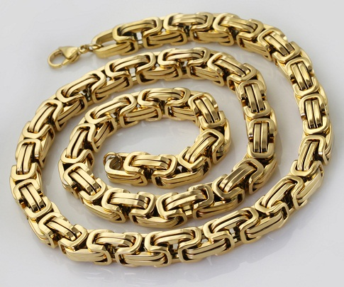 Solid link gold plated chain