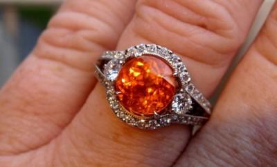 Spessartite garnet diamond ring