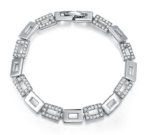 Square links Platinum Womens Bracelet