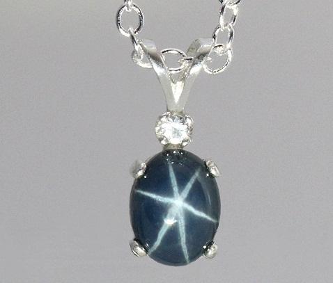 Star sapphire gemstone pendant