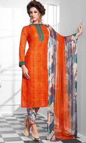 Straight Suit Design Orange Salwar Suit-5
