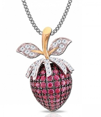 Strawberry red ruby pendant