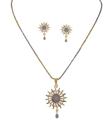 Sun pendant silver mangalsutra