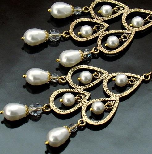 Swarovski long crystal pearl earrings