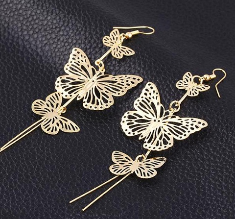 Tassel butterfly earrings