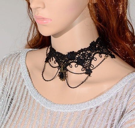 Tattoo Choker with Flower Lace