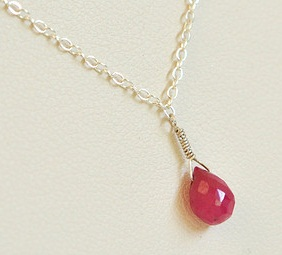 Teardrop Solitaire Ruby Pendant