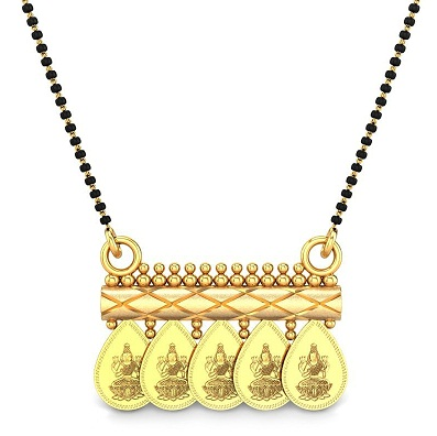 Temple coin locket mangalsutra