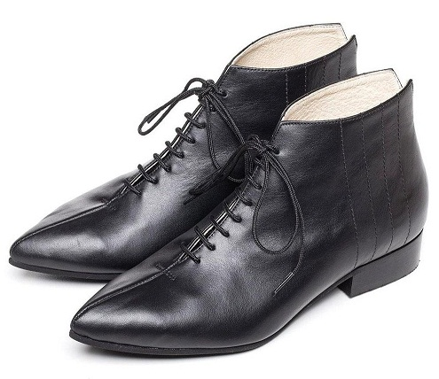 The black leather womenshoes