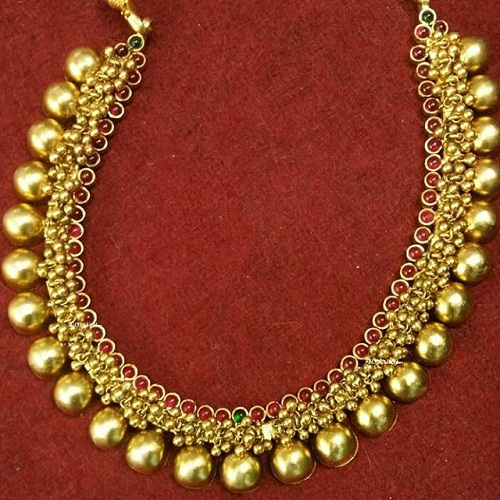 The golden beads gold plated necklace