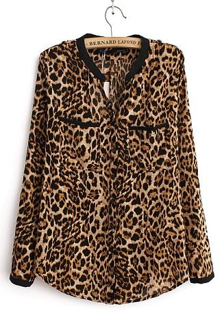 The leopard print women's casual shirt