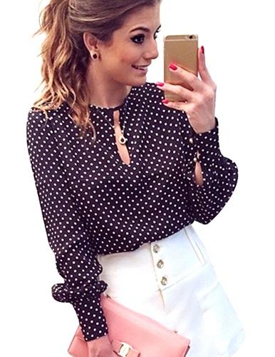 The polka dot women's casual shirt