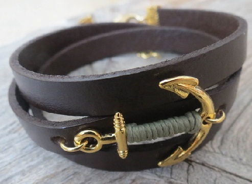 Thick Leather Anchor Bracelet