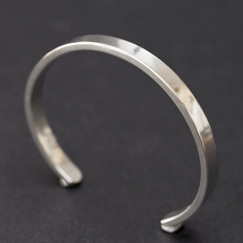 Thick Plain platinum Cuff bracelet for Men