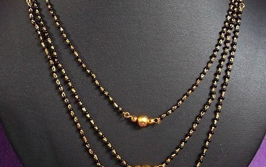 Three chained mangalsutra necklace
