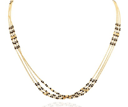 Three strand black bead Gold chain Mangalsutra design