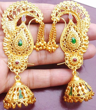 Traditional bridal colored gem stone stud gold earrings