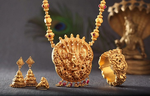 Traditional gold Bharatanatyam Temple Jewellery