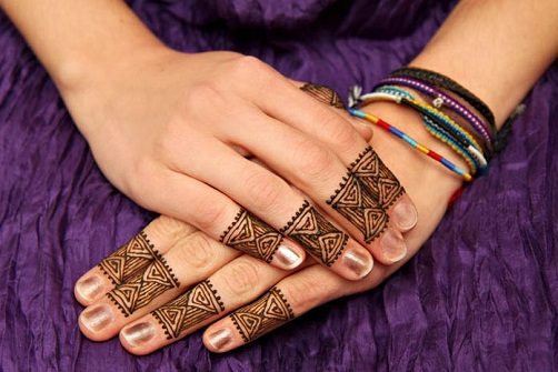 Triangular Finger Henna Design