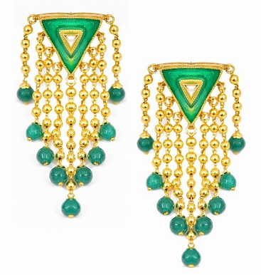 Triangular Green Stone Earring