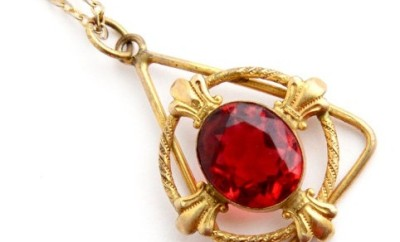 Triangular Single Ruby Stud Gold Pendant