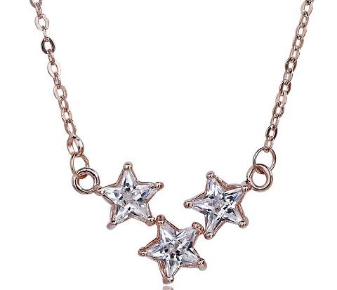 Triple Star Rose Gold Pendant