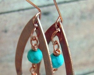 Turquoise Copper Earring