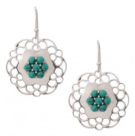 Turquoise Earring with Floral Motif