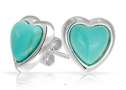 Turquoise Heart Stud Earring