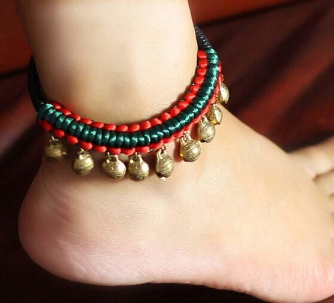 Unique Copper Bells Silk String Anklets