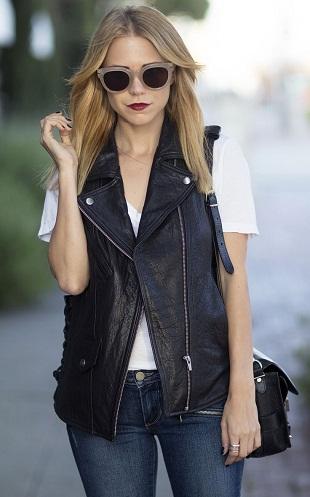 Unisex Leather grey Vest