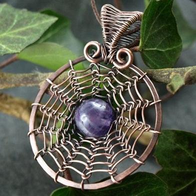 Viking Knit Amethyst Gemstone Necklace