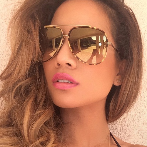 Vintage Metal Frame Reflective Sunglasses for Women