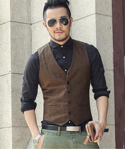 Vintage inspired skinny suit vest