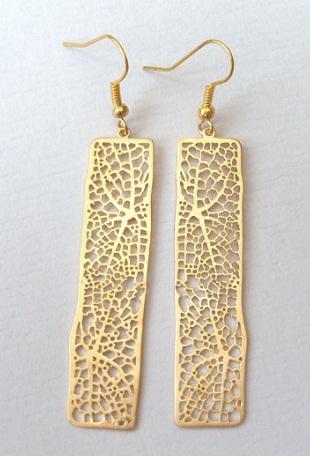 Wedding filigree gold bar earrings