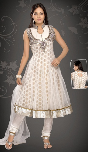 White Brocade Net Salwar Suit