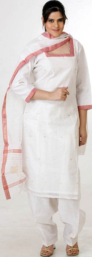 White Chanderi Salwar Suit