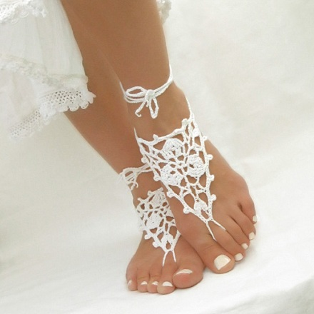White Crochet Wedding Anklets