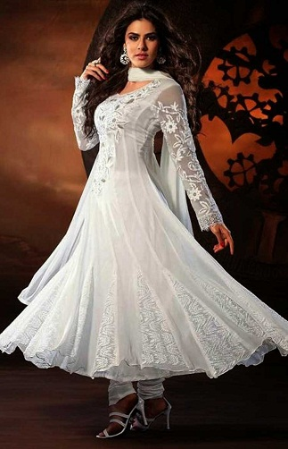 White Georgette Anarkali Salwar Suit