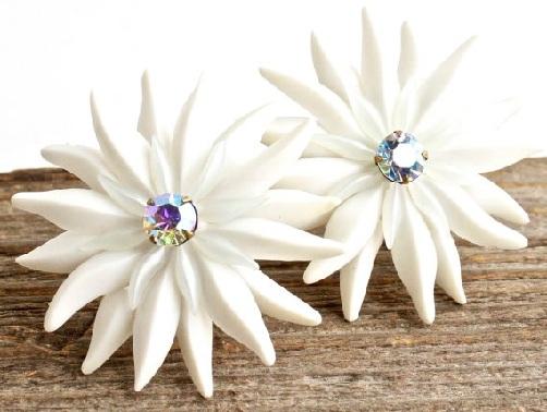 White Stone Flower Earrings