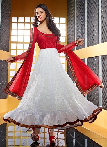 White and Red Salwar Suit