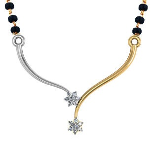 White and Yellow Gold Simple Mangalsutra