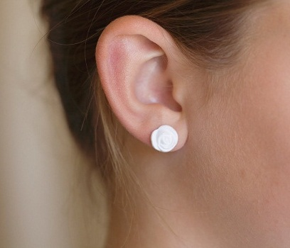 White rose button earring