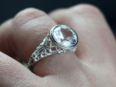 White sapphire gemstone engagement ring