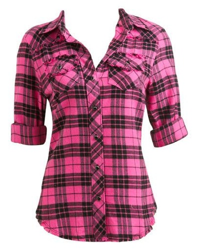 Women's Plaid Pink Shirt