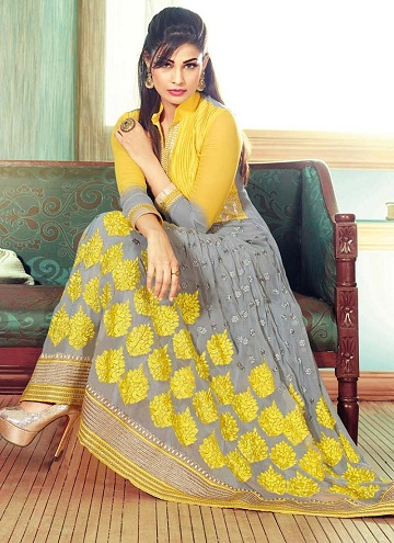 Yellow-Grey Faux Georgette Suit