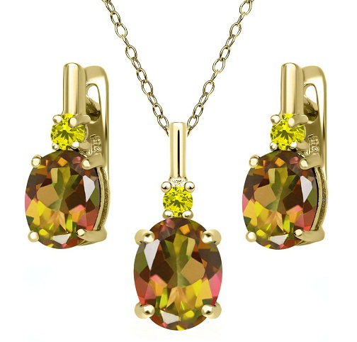 Yellow sapphire gemstone stud pendant and earring set