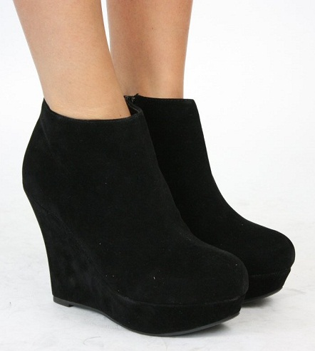 Zip booties wedge shoes
