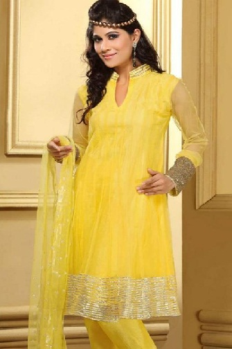 knee length netted Anarkali suit