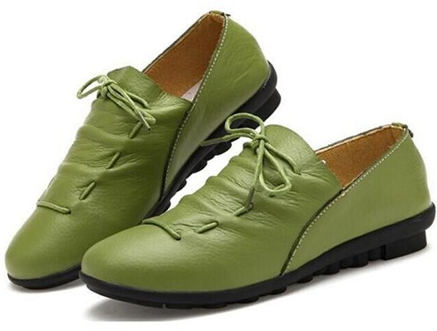 pure green leather women shoes